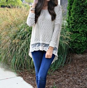 Love by Design lace hem sweater
